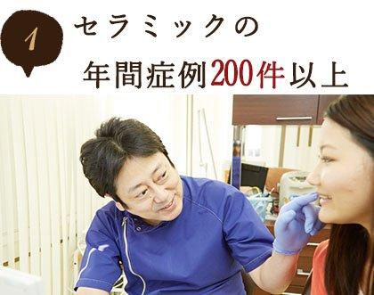 セラミックの年間症例200件以上